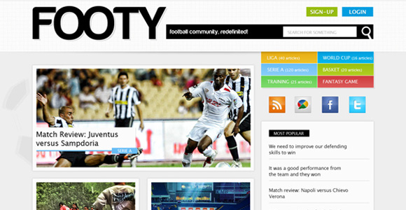Design a clean sports web layout in magazine-style with Photoshop