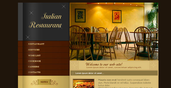 Web Layout for Italian Restaurant