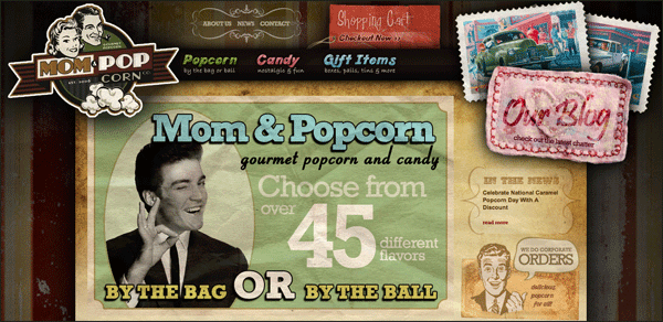 Mom & Popcorn | Vintage / Retro Web Design