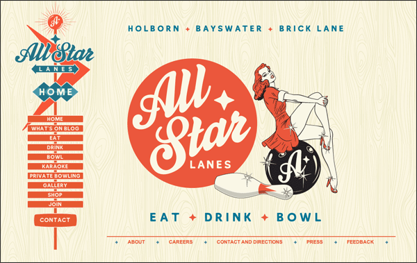 All Star Lanes | Vintage / Retro Web Design