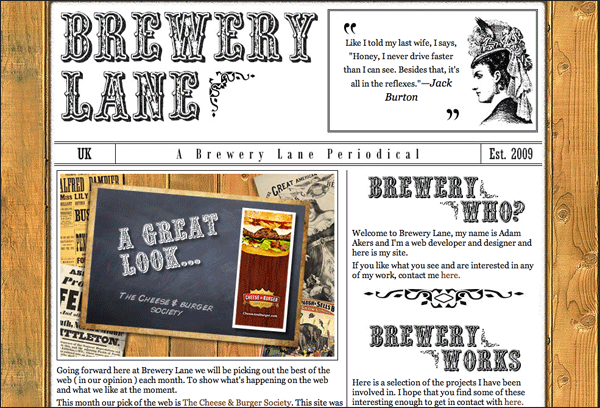 Brewery Lane | Vintage / Retro Web Design