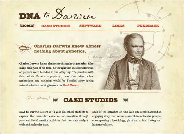 DNA to Darwin | Vintage / Retro Web Design
